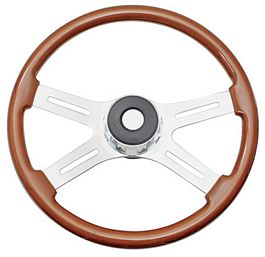 "29500-FLAMES-18"" Wood steering wheel with Flames Design. Fits Peterbilt July 1993-April 1999 18"""