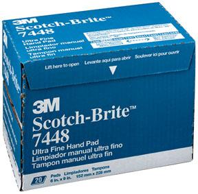 7448 By 3m Scotch Brite Ultra Fine Hand Pad Gray 6