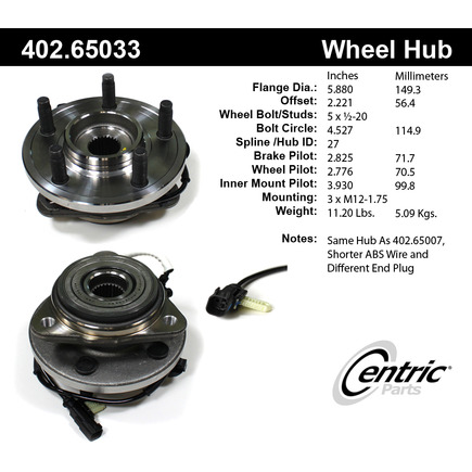 By centric premium hub assembly for 65033